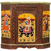 Apkamart Hand Crafted Wooden Almirah Cabinet 18 Inch Height for Home Decor, Room Decor and Gifts