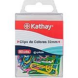Kathay 86400599. Caja de 80 Clips Colores Surtidos, 32mm, Niquel, Plastificados