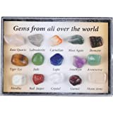 LQKYWNA 15 Piezas De Muestras De Minerales Coleccionables, Piedras Preciosas De Cristal Mezcladas Naturales con Caja De Almac