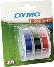 Dymo etichette a rilievo in vinile autoadesive, rotoli da 9 mm x 3 m, rosso, nero e blu (Confezione da 3), S0847750