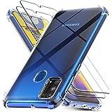 Ferilinso Coque pour Samsung Galaxy M31 avec 2 Pièces Verre Trempé, étui Transparent pour Samsung Galaxy M31, Protection écran, pour Samsung Galaxy M31