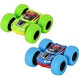 m zimoon Klein Auto, Monster Truck Spielzeugauto Zwei-Wege-Reibungsfahrzeug Trägheits Auto 360 Dreh-Flip Push-and-Go…