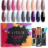 LILYCUTE 21Pcs 7ml Smalto Semipermanente Kit base e Top Coat, Semipermanente Unghie nudo rosa Colori per estate vacanza con B