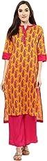 Jaipur Kurti Yellow Paisley Print Kurta With Rani Palazzo Set
