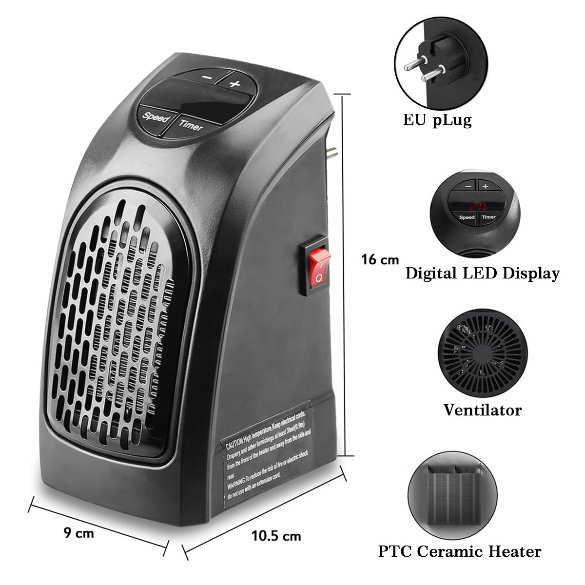 Mini Stufa Stufetta Elettrica Riscaldatore Portatile Stove Handy