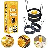 Anneau d'oeuf, Egg Ring, Anneaux à œufs en acier Inoxydable, 4 Pcs Anneaux à œufs Antiadhésifs avec Poignées Pliantes, Oeuf a