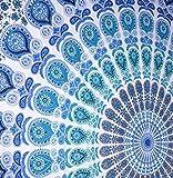 Rawyal Indischer Pfau-Mandala-Wandteppich, indisches Wandhänger, indischer Hippie-Wandteppich, böhmischer Wandhänger, Queen-Überwurf-Bettdecke, Dekor-Kunst