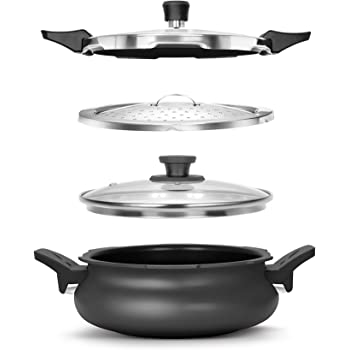 Pigeon By Stovekraft Belita Hard Anodized Super Cooker Set, 3 Ltrs, 4-Pieces, Black.