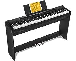 Donner Domicile Piano Numérique 88 Touches Pondérées, Action du Marteau, Clavier électrique Fullsize pour Débutant avec 3 Péd