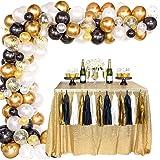 Kit Arco Globos Oro Negro, Confeti Oro Negro Blanco Globos Látex, Paquete Guirnaldas Arco para Hombres, Mujeres, Cumpleaños,