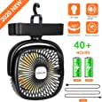COMLIFE Ventilatore Portatile da Campeggio con Luce LED, 3 velocità, Rotazione 360 °, Alimentato Via USB o Batteria Ricaricabile 4400mAh, Ventilatore da Tavolo per Casa, Esterno, Ufficio, Campeggio