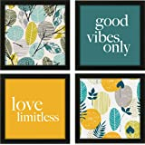 RAG28 Set of 4 Framed Painting/Poster - Size 9 X 9 Inches Each (6035) - Frame Black