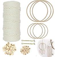Cordon macramé de 3 mm avec 6 cerceaux en bambou et 60 perles en bois pour loisirs créatifs, suspension murale, attrape…