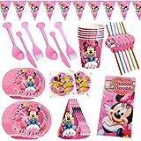 CYSJ 60PCS Set de Fiesta de cumpleaños de Minnie Disney Mickey Mouse Party Decoration Set Platos Tazas Servilletas Pack de Fi