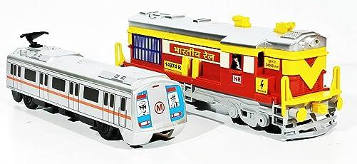 2 Combo Locomotive Engine & Metro Train Toys kit (Red Grey)