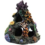 PINVNBY Coral Aquarium Decoration Fish Tank Resin Rock Mountain Cave Ornaments Betta Fish House for Betta Sleep Rest Hide Pla