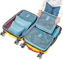 EVANA Nylon 6 Sets Travel Organizers Waterproof Packing Cubes Laundry Bag(Multicolour, 40x30x12cm)