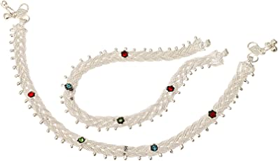 Fashion World Silver Payal Multi-Colour Stone Anklet for Girls & Women