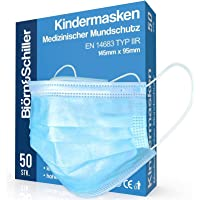 100 Stück OP Masken Kinder CE zertifiziert EN 14683 Typ IIR, medizinischer Mundschutz, 3-lagige Einweg Kindermasken…