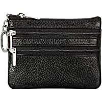 Fueerton Women's Genuine Leather Coin Purse Mini Pouch Change Wallet with Key Ring (Black)