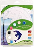 MAMMUT 113003 - Malen nach Zahlen Top in Form, Tiermotiv, Delfin, Komplettset mit bedruckter und gestanzter Malvorlage, 7 Acrylfarben und Pinsel, Malset für Kinder ab 5 Jahre