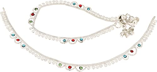 Fashion World Silver Payal Stunning Stone Anklet for Girls & Women