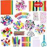GOLDGE 700pz Kit de Manualidades para niños, Pipe Cleaners Crafts Set Pompones Ojos Manualidades Kit Crafts Set y Pipe Chener