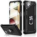 HATOSHI Samsung Galaxy A12 5G Case with 2 Pack Tempered Glass Screen Protector and 2 Pack Camera Lens Protector, [5X Military