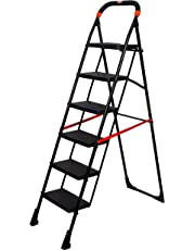 Magna Homewares Pollux 6 Steps Folding Ladder (Black, Large)