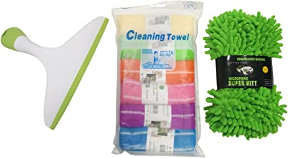 Mabalo 3 in 1 Car Cleaning Kit Combo Includes Wiper, Sponge and 6Pc Microfiber Cloth, Multicolour