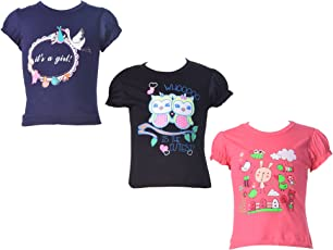 KIDANIA Kid's Soft Cotton Short Sleeve Round Neck T-Shirt for Girls Pack 3