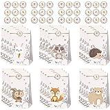 afdg Sacchetti Regalo di Carta, Animale Sacchetti Regalo, Sacchetto di Carta per Feste, con Adesivi Animali per Compleanno Ba