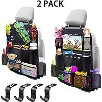 MIBOTE-UK Car Backseat Organizer 2 Pack 11 Storage Pockets Kick Mats Organiser with 10