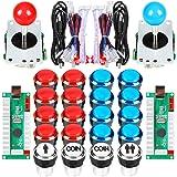 EG STARTS Arcade gör-det-själv-kit del 2 x 8-vägs joystick + 16 x LED-upplyst tryckknapp + 2 spelare + myntknappar för Raspbe