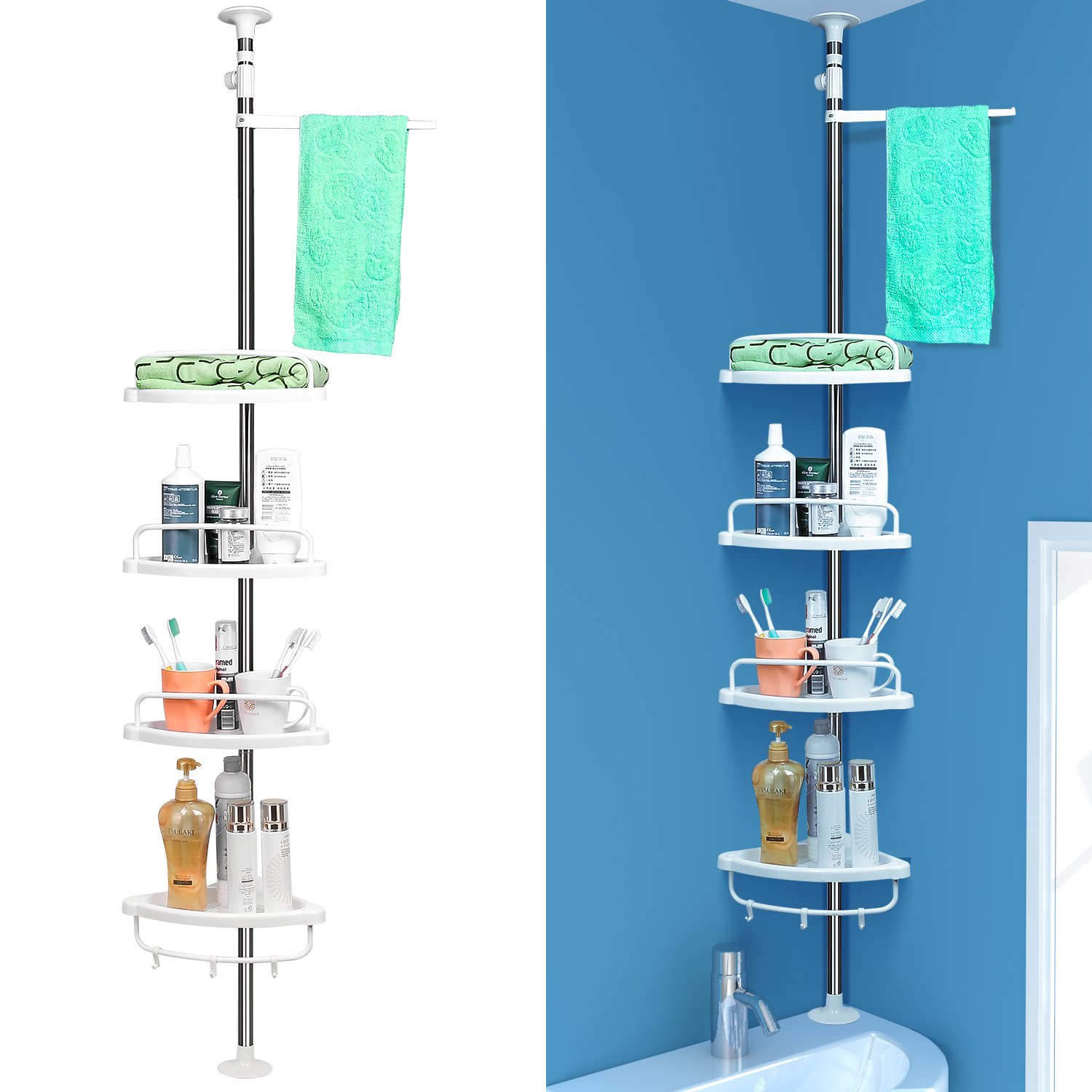 4 Tier Shower Caddy Shelf Bathroom Corner Rack Telescopic Adjustable ...