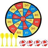 Surplex Hangend dartbord voor kinderen voor binnen of buiten, inclusief 4 ballen, 4 darts met klittenbandcoating voor stevige