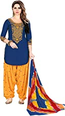Aadhya Creation Women's Cotton Embroidery Stitched Salwar Suit Dress Material with Dupatta (PTKP013, Blue, Free Size)