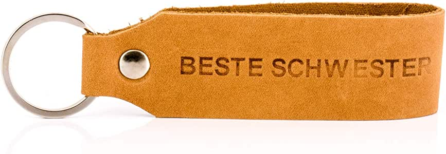 "/""Samui/"" Schlüsselanhänger Gravur Bester Bruder Tumatsch-Leder© Echtleder Schwarz"