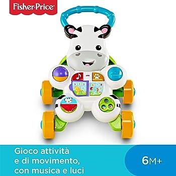 Fisher Price Zebra Primi Passi Spingibile, Giocattolo Elettronico Educativo con Musica e Suoni, Adatto per Bambini dai 6 Mesi, DLD91
