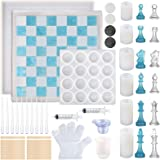 Sntieecr 81 PCS Kits de moldes de resina para tablero de ajedrez con herramientas epoxi, molde de silicona para tablero de aj
