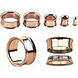 Kultpiercing - Set di 2 dilatatori per orecchio, in acciaio chirurgico, colore: oro rosa