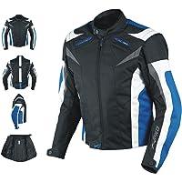 Giacca Tessuto Moto Protezioni CE Manica Staccabile Gilet Termico Blu S