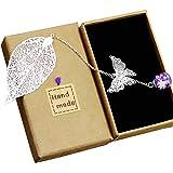 Toirxarn Squisito segnalibro a foglia metallica, con farfalla 3D e perle di vetro Ciondolo eterno a fiore secco. Regalo per l