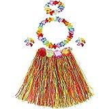 Disfraz Hawaiano,3 Juegos Falda de Hierba Hawaiana Incluyen 3 Faldas de Hierba Hula+3 Guirnaldas de Cuello+3 Diademas+6 Pulse