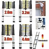 2,6m Teleskopleiter Mehrzweckleiter für Dachboden/Kletterdach/Büronutzung/Baujob Ausziehbar Aluleiter Rutschfeste Stufen 150 Kg Belastbar
