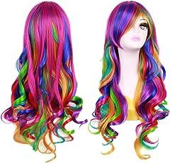 Ateid Damen Perücke Regenbogen Kostüm Bunt Papagei Langhaar 70 cm Lockig + Haarnetz