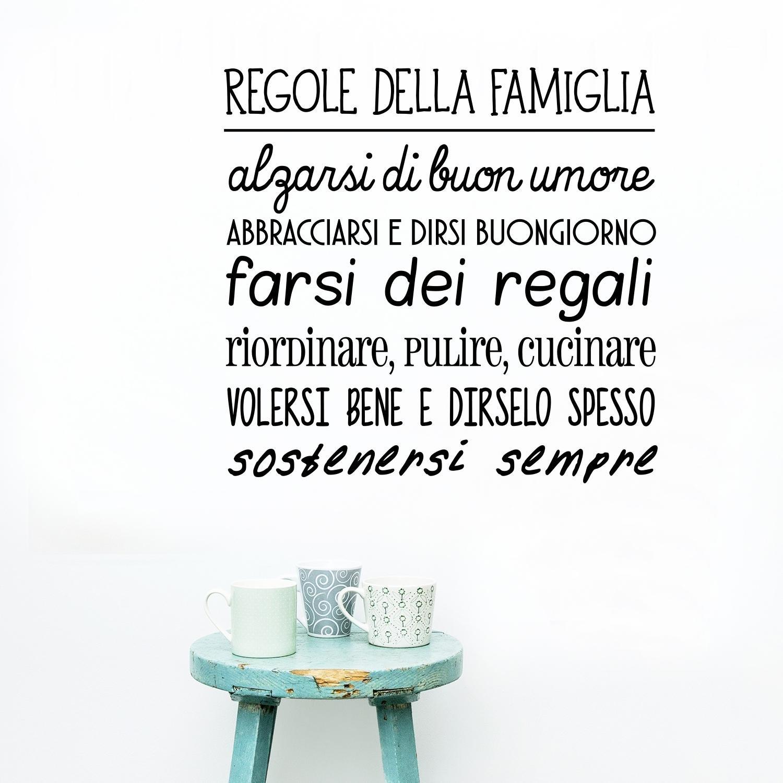 """Célèbre Adesiviamo® """"Regole della Famiglia"""" Wall Sticker Adesivo da Muro  HI68"""
