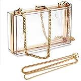 Linkidea Transparente Damen-Geldbörse, Acryl-Box, Abend-Clutch, transparent, für Party, Hochzeit, Bankett, Transparent – Gold