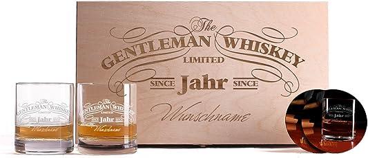 Privatglas 2 Gravierte Whiskygläser mit bedruckten Untersetzern in einzigartiger Geschenkbox zu Weihnachten