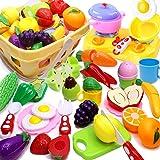 Airlab 32 Pièce Jouets en Plastique Fruits et Légumes à Découper, Enfant Dinette Nourriture Accessoire Ustensile de Cuisine,